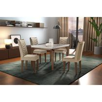 Sala de jantar Liz 1,20 com 4 cadeiras café/turim 07 - Rufato