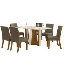 Sala de Jantar Mesa Alfa 160cm 6 Cadeiras Maris Nature/Off White/Bege - Henn -