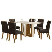 Sala de Jantar Mesa Alfa 160cm 6 Cadeiras Vega Nature/Off White/Marrom - Henn -