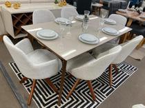 Sala de Jantar Mesa Julien e 6 Cadeiras Dilly Giratórias (2 Cadeiras com Braços) - D'Confort Design
