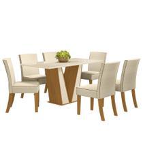 Sala de Jantar Mesa Retangular Garda 160cm com 6 Cadeiras Maris Nature/Off White/Linho - Henn -