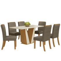 Sala de Jantar Mesa Retangular Garda 160cm com 6 Cadeiras Tauá Nature/Off White/Bege - Henn -