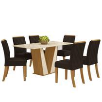 Sala de Jantar Mesa Retangular Garda 160cm com 6 Cadeiras Vita Nature/Off White/Marrom - Henn -