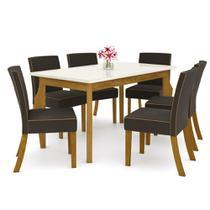 Sala de Jantar Mesa Retangular Ghala 160cm com 6 Cadeiras Maris Nature/Off White/Marrom - Henn -