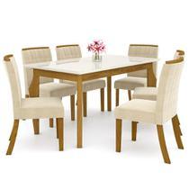 Sala de Jantar Mesa Retangular Ghala 160cm com 6 Cadeiras Tauá Nature/Off White/Linho - Henn -