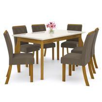 Sala de Jantar Mesa Retangular Ghala 160cm com 6 Cadeiras Vita Nature/Off White/Bege - Henn -