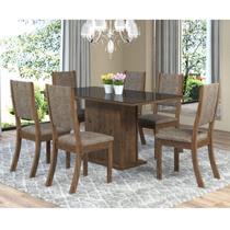 Sala de Jantar Mesa Retangular Tampo de MDF Smart 6 Cadeiras Kiara Viero Grigio/Canela/Vidro Preto -