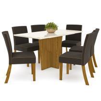 Sala de Jantar Mesa Retangular Vértice 160cm com 6 Cadeiras Maris Nature/Off White/Marrom - Henn -