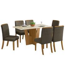 Sala de Jantar Mesa Retangular Vértice 160cm com 6 Cadeiras Tauá Nature/Off White/Bege - Henn -