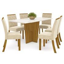 Sala de Jantar Mesa Retangular Vértice 160cm com 6 Cadeiras Vita Nature/Off White/Linho - Henn -