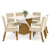 Sala de Jantar Mesa Solus 160cm com 6 Cadeiras Maris Nature/Off White/Linho - Henn -