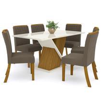 Sala de Jantar Mesa Solus 160cm com 6 Cadeiras Tauá Nature/Off White/Bege - Henn -