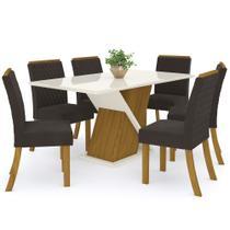 Sala de Jantar Mesa Solus 160cm com 6 Cadeiras Vega Nature/Off White/Marrom - Henn -