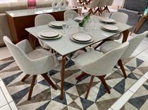 Sala de Jantar Mesa Top Light e 6 Cadeiras Dilly Giratórias (2 Cadeiras com Braços) - D'Confort Design