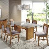 Sala de jantar moscou com 6 cadeiras estofadas nobre - madeira e lâmina de jequitibá - sunset - Seiva