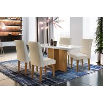 Sala de jantar Olimpia 1200 TP. MDF/LAQ. C/4 cad. Grecia Imbuia/off white veludo Creme - Rufato