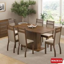 Sala de Jantar Versalhes Conjunto Mesa Retangular e 6 Cadeiras Estofadas Madesa -