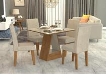 Sala Jantar Alana 95cm x 95cm Com 4 Cadeiras Milena Savana/Off White/Sued Bege - Cimol -
