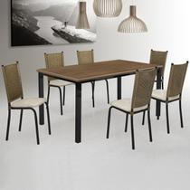 Sala Jantar Mesa Marselha 160x90Cm 6 Cadeiras Alfa - Pelaio Moveis
