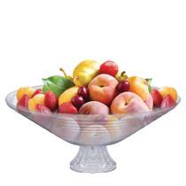 Saladeira de Vidro Redonda com Pé Ruvolo 28cm Fruteira de Mesa Gourmet -