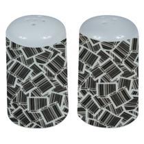 Saleiro e Pimenteiro em porcelana barcode preto e branco - Urban