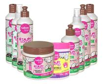 Salon Line To De Cacho Coco Kit Completo Com 02 Spray 02 Ativadores + Gelatina 09 itens -