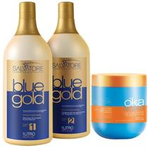 Salvatore Escova Progressiva Blue Gold 1000ml + Máscara Oka Argan Máscara 500g