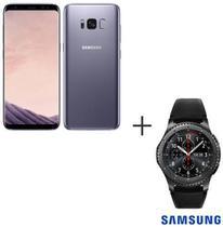 Samsung Galaxy S8 Ametista, Tela de 5,8, 4G, 64GB, 12MP SM-G950 + Gear S3 Frontier Preto com 1,3, Pulseira de Silicone -
