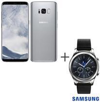 Samsung Galaxy S8 Prata, Tela de 5,8, 4G, 64GB e 12MP - SM-G950 + Gear S3 Classic Preto com 1,3, Pulseira de Couro -