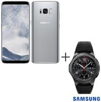 Samsung Galaxy S8 Prata, Tela de 5,8, 4G, 64GB e 12MP - SM-G950 + Gear S3 Frontier Preto com 1,3, Pulseira de Silicone -