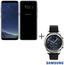 Samsung Galaxy S8 Preto, Tela de 5,8, 4G, 64GB e 12MP - SM-G950 + Gear S3 Classic Preto com 1,3, Pulseira de Couro -