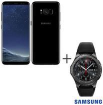 Samsung Galaxy S8 Preto, Tela de 5,8, 4G, 64GB e 12MP - SM-G950 + Gear S3 Frontier Preto com 1,3, Pulseira de Silicone -