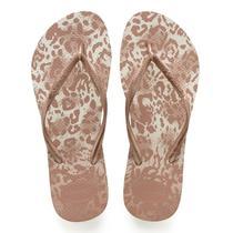 Sandalia chinelo slim animals - havaianas - branco/dourado -