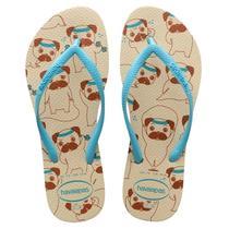 Sandalia chinelo slim pets - havaianas - bege palha/azul -