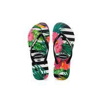 Sandalia chinelo slim tropical floral -havaianas - preto/preto/imperial -
