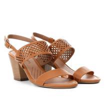 Sandália com Laser Cut Ramarim Salto Grosso Feminina -