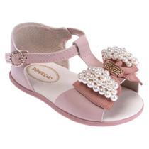 Sandália Para Bebês - Pérolas e Laço - Rosa - Pimpolho -