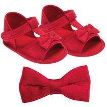 Sandália pimpolho com enfeite de cabelo fem vermelha -