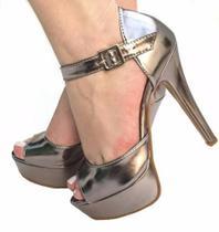 - Sandália Prata Velho Metalizado Salto Alto Fino Meia Pata - Calçados Etc
