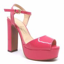 - Sandália Rosa Pink Verniz Meia Pata Salto Alto Grosso - Calçados Etc
