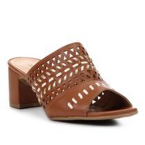 Sandália Shoestock Salto Grosso Laser Feminina -