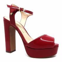 - Sandália Vermelho Escuro Verniz Meia Pata Salto Alto Grosso - Calçados Etc