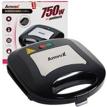 Sanduicheira e Grill Elétrica 110V 127V 750W Dupla Antiaderente Amvox AMS 500 New Preta Inox -