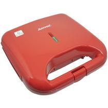 Sanduicheira e Grill Elétrica 750W Lanches Dupla Antiaderente Vermelha Amvox AMS 370 RED -