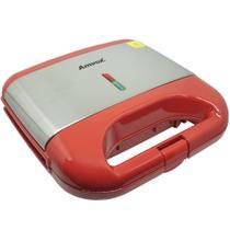 Sanduicheira e Grill Elétrica 750W Lanches Dupla Antiaderente Vermelha Inox Amvox AMS 500 RED -