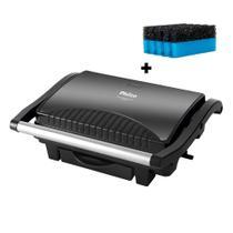 Sanduicheira e Grill Philco Press Titanium Inox PGR08T  + Esponja para limpeza de Grill -
