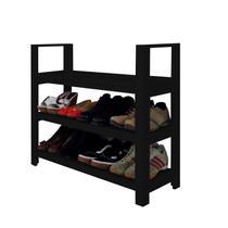 Sapateira Banco com Braço de Piso para Closets e Quartos 8 Pares Sapatos - Preto Laca - Formalivre