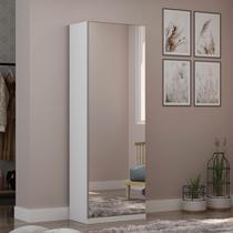 Sapateira com 1 Porta Espelho Agata Branco Acetinado - Gelius -