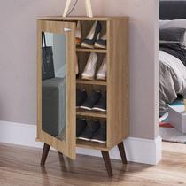 Sapateira com Espelho 1 Porta 3 Prateleiras Completa Móveis Oak -