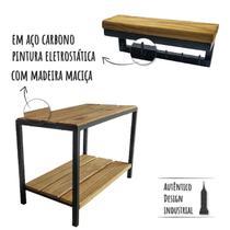 Sapateira de Chão Pequena Com Porta Chaves Industrial Preto - Websize